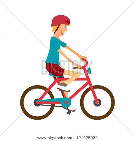 Young boy rides red bike on isolated background. Kid healthy leisure rides bike. Boy in helmet pedaling on summer time. Flat vector color illustration