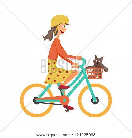 Young girl rides green bike on isolated background. Girl healthy leisure rides bike. Girl in helmet with soft toy in basket pedaling on summer time. Flat vector color illustration