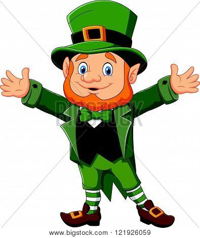 Vector illustration of Cartoon funny leprechaun waving hand
