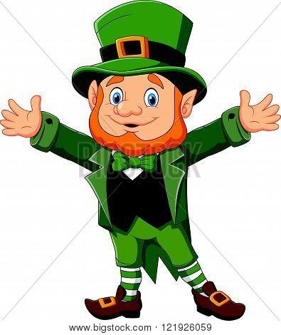 Vector illustration of Cartoon funny leprechaun waving hand