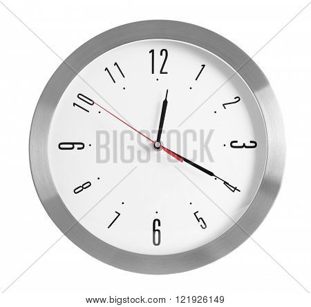 Round wall clock, isolated on white