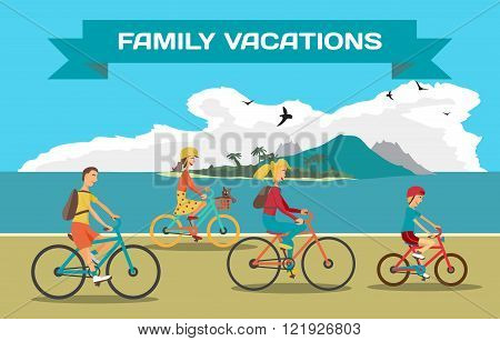 Family ride the bike on the beach. Healthy leisure and freedom r