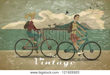 Young woman and man ride the bike on the beach vintage faded sty
