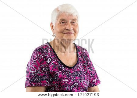 Sitting smiling elderly lady with white hair