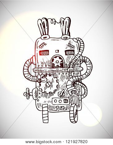 illustration of retro robot