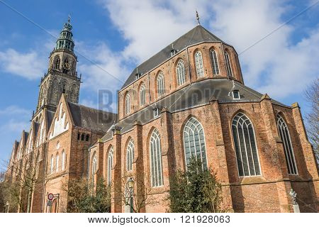 Martini church and tower in the center of Groningen Netherlands