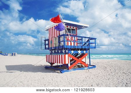 Lifeguard house at South Beach of Miami