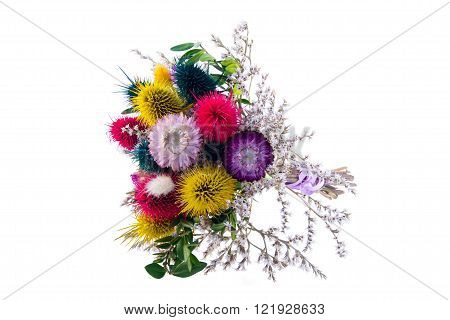 Decorative bouquet of dried flowers isolated on white background
