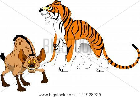 big tiger and angry hyena went out hunting