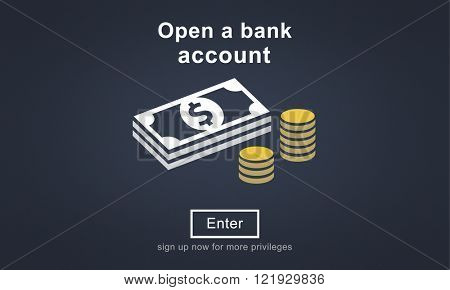 Open a Bank Account Banking Savings Financial Concept