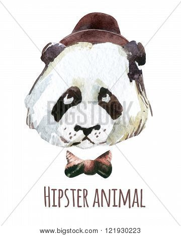 Panda head in hipster style. Watercolor panda painting illustration isolated on white background
