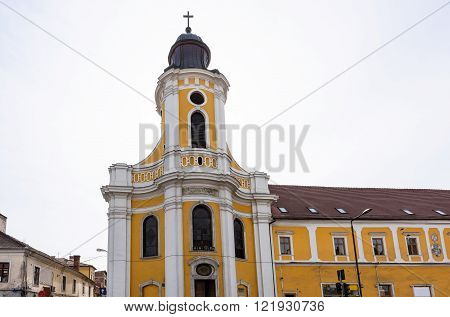 Belfry of the Greek Catholic Cathedral in Cluj Napoca City, Romania