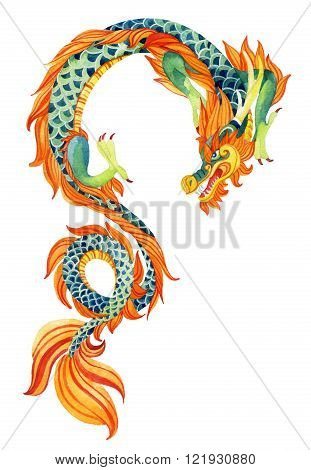 Chinese Dragon. Traditional symbol of dragon. Watercolor hand painted illustration.