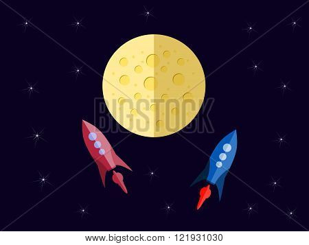 Flight To Mars. Spacecraft In Space In A Flat Style. Outdoor Space. Vector Illustration.