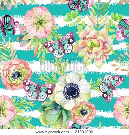 watercolor seamless pattern with anemones succulents herbs and butterflies. Hand painted raster illustration on striped background