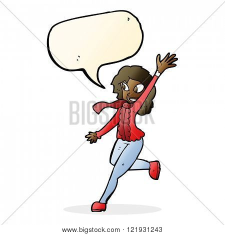 cartoon woman waving dressed for winter with speech bubble