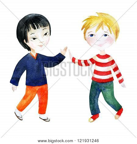 Watercolor children. Two boys holding hands. Happy Friendship day background. Hand painted illustration that shows tolerant relations