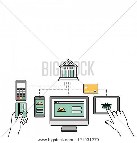 Online payments, transactions, internet banking & mobile payment vector illustration.