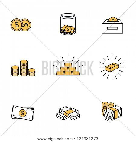 Money icons. Dollar bank notes, coins and gold bars.