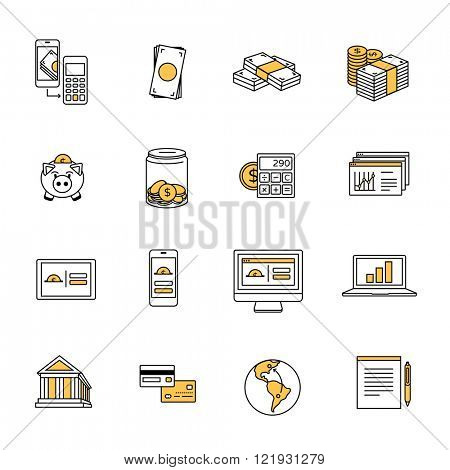 Dollar finance icons. Smart banking, money & mobile payment icons.