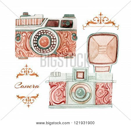 Camera set in retro style. Old fashioned reflex camera. Hand painted illustration