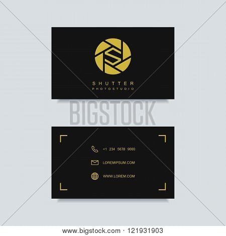 photography business card template. photography logo. photo studio logo. photographer business card. clean and minimalistic flat style. vector illustration