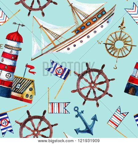 Nautical seamless pattern. Hand painted watercolor illustrations