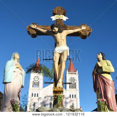 Jesus Christ on cross. Jesus christ statue in the churches