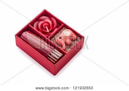 Beautiful red keepsake gift boxes and card isolated on white background. Horizontal image.