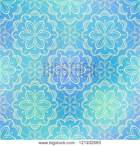 Seamless doodle flower pattern on shiny blue background