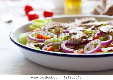 Healthy fresh summer salad with letucce radish cherry tomatoes red onion and champignons with italian herbs on a table closeup