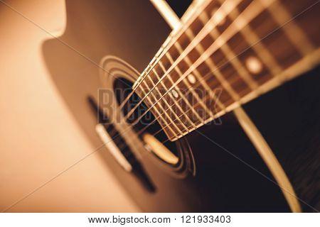 Acoustic Guitar Close-up Shot