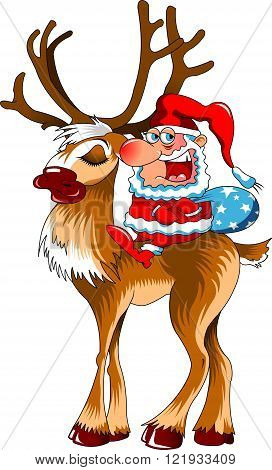 vector christmas illustration of santa claus and red nosed reindeer