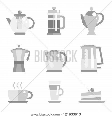 Tea pot and coffee vector set gray illustration and icon. Tea cup and latte, cake. Flat elements of drink. Electric kettle.