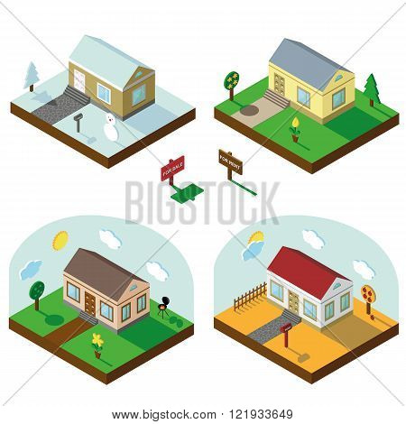 Isometric house set.3D Village.Seasonal Landscapes
