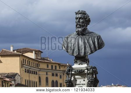 Bust Of Benvenuto Cellini On The Ponte Vecchio In Florence, Italy