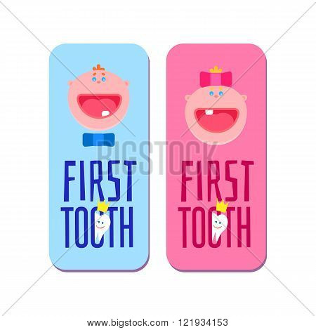 First tooth for boys and girls banners