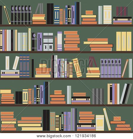 Vector seamless bookshelf pattern random books on shelves green background. Design for websites textile fabric brochures booklets invitation cards flyers