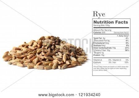 Uncooked rye grain seeds with nutrition facts on white background