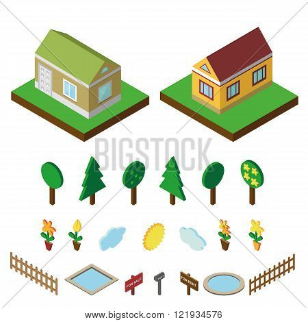Isometric house.3D Village landscape icons set