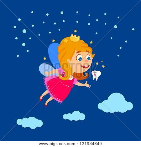 Tooth Fairy flying at night sky