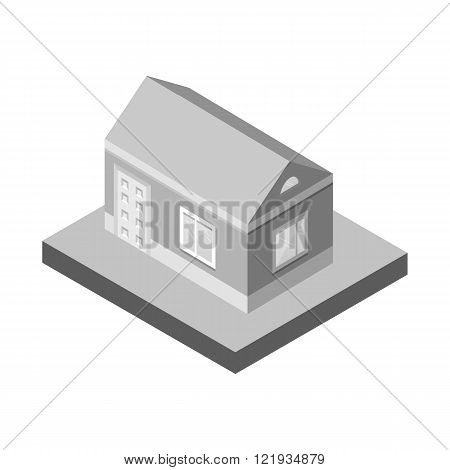 Isometric house.3D Village landscape icons.Grey