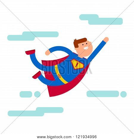 Superhero character flying at the sky