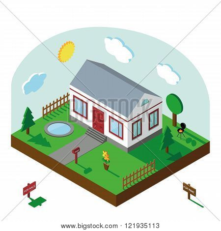 Isometric house.3D Village landscape,summer yard,sky