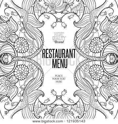 Floral frame for restaurant menu