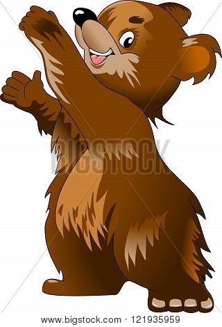 Happy teddy bear raising his arms vector