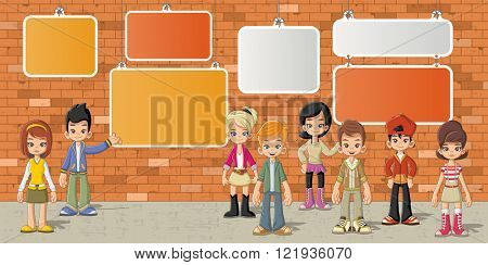 Couple of cartoon children in front of orange brick wall background