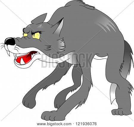 evil scary wolf ready to attack vector