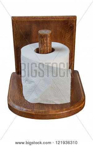 Equipment put tissue paper made from wood can be mounted to the wall. Or placed on a table, isolated on white background.