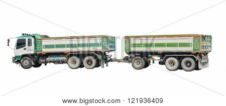 Truck and trailer, isolated on white background.